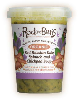 Red Russian Kale, Spinach and Chickpea Soup